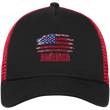 Load image into Gallery viewer, CustomCat Snapback Hat Black/Scarlet / One Size American Flag NE205 Snapback Trucker Cap (6 Variants)