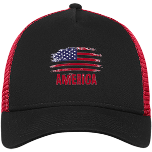 CustomCat Snapback Hat Black/Scarlet / One Size American Flag NE205 Snapback Trucker Cap (6 Variants)