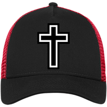 Load image into Gallery viewer, CustomCat Snapback Hat Black/Scarlet / One Size The Cross NE205 Snapback Trucker Cap (6 Variants)
