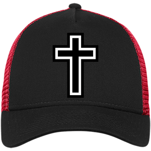 CustomCat Snapback Hat Black/Scarlet / One Size The Cross NE205 Snapback Trucker Cap (6 Variants)