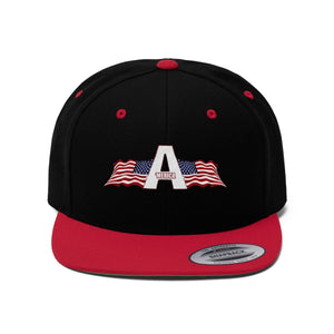 Printify Snapback Hat Black/True Red / One size 'Merica American Patriots Apparel Logo Flat Bill Hat (6 Variants)