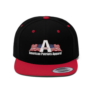 Printify Snapback Hat Black/True Red / One size Merica American Patriots Apparel Logo With White Text Hat (6 Variants)