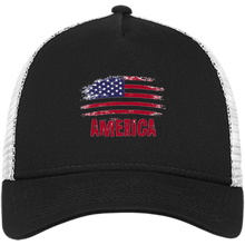 Load image into Gallery viewer, CustomCat Snapback Hat Black/White / One Size American Flag NE205 Snapback Trucker Cap (6 Variants)