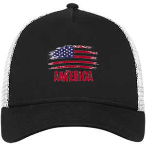 CustomCat Snapback Hat Black/White / One Size American Flag NE205 Snapback Trucker Cap (6 Variants)