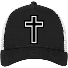 Load image into Gallery viewer, CustomCat Snapback Hat Black/White / One Size The Cross NE205 Snapback Trucker Cap (6 Variants)