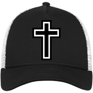 CustomCat Snapback Hat Black/White / One Size The Cross NE205 Snapback Trucker Cap (6 Variants)
