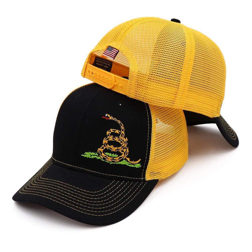 Right Wing Gear Snapback Hat Black/Yellow / OSFA Don't Tread On Me Mesh Back Snapback Hat