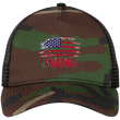 Load image into Gallery viewer, CustomCat Snapback Hat Camo/Black / One Size American Flag NE205 Snapback Trucker Cap (6 Variants)
