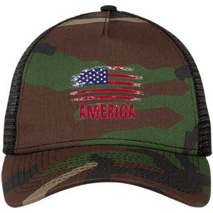 CustomCat Snapback Hat Camo/Black / One Size American Flag NE205 Snapback Trucker Cap (6 Variants)