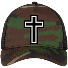 Load image into Gallery viewer, CustomCat Snapback Hat Camo/Black / One Size The Cross NE205 Snapback Trucker Cap (6 Variants)