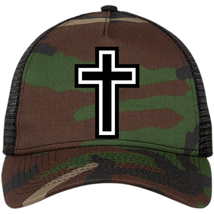 CustomCat Snapback Hat Camo/Black / One Size The Cross NE205 Snapback Trucker Cap (6 Variants)