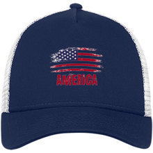 Load image into Gallery viewer, CustomCat Snapback Hat Deep Navy/White / One Size American Flag NE205 Snapback Trucker Cap (6 Variants)