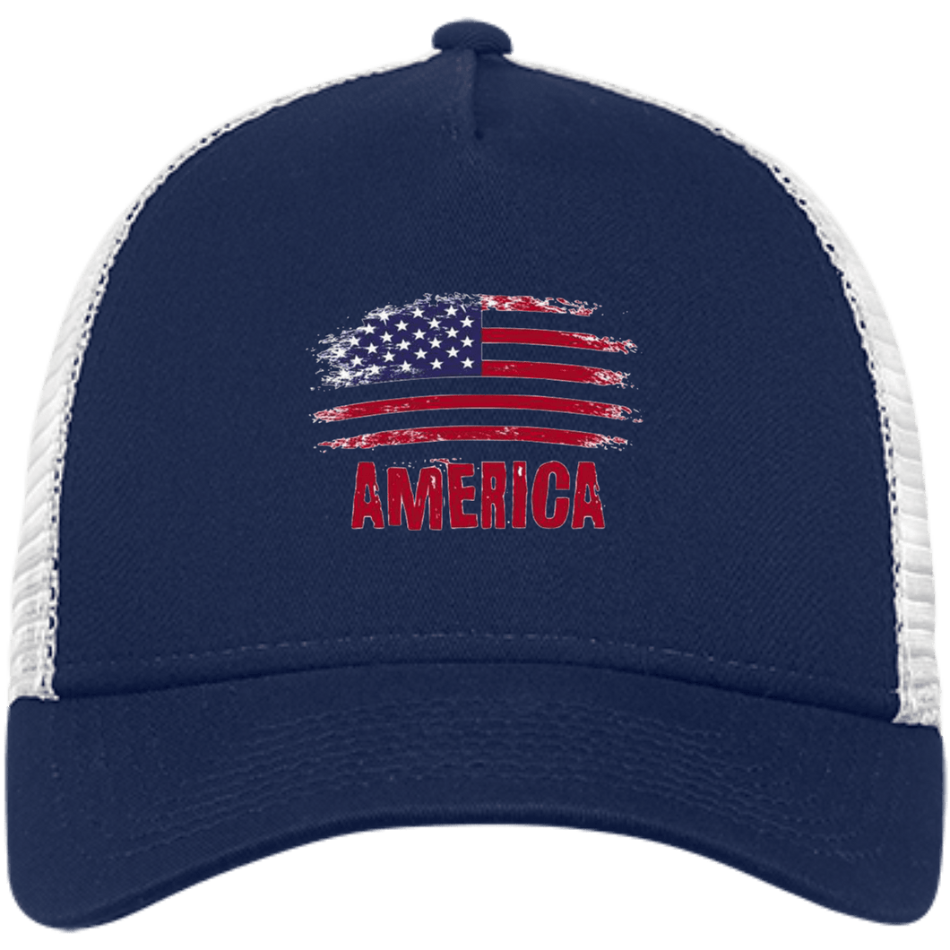 CustomCat Snapback Hat Deep Navy/White / One Size American Flag NE205 Snapback Trucker Cap (6 Variants)