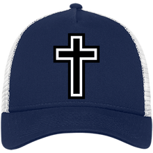 Load image into Gallery viewer, CustomCat Snapback Hat Deep Navy/White / One Size The Cross NE205 Snapback Trucker Cap (6 Variants)