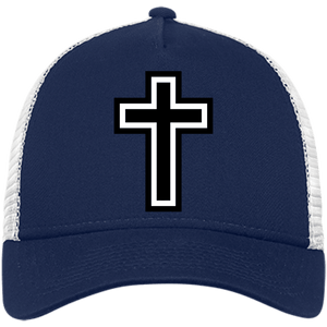 CustomCat Snapback Hat Deep Navy/White / One Size The Cross NE205 Snapback Trucker Cap (6 Variants)