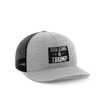 Print Brains Snapback Hat God, Guns, and Trump Leather Patch Hat / Heather Gray / One Size God, Guns, and Trump Leather Patch Hat (12 Variants)