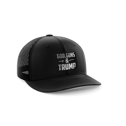 Print Brains Snapback Hat God, Guns, and Trump Leather Patch Hat / White / One Size God, Guns, and Trump Leather Patch Hat (12 Variants)