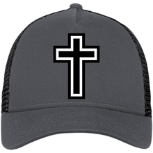 Load image into Gallery viewer, CustomCat Snapback Hat Graphite/Black / One Size The Cross NE205 Snapback Trucker Cap (6 Variants)