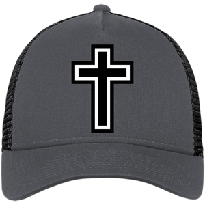 CustomCat Snapback Hat Graphite/Black / One Size The Cross NE205 Snapback Trucker Cap (6 Variants)
