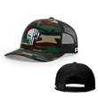 Load image into Gallery viewer, Printed Kicks Snapback Hat Green Camo And Black / Snapback hat / OSFA Thin Blue Line (TBL) Punisher Snapback Hat (14 Variants)