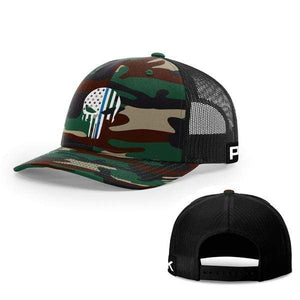 Printed Kicks Snapback Hat Green Camo And Black / Snapback hat / OSFA Thin Blue Line (TBL) Punisher Snapback Hat (14 Variants)