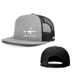 Printed Kicks Snapback Hat Heather And Black / Snapback Flatbill Hat / OSFA Come and Take It Lower Left Hats (13 Variants)