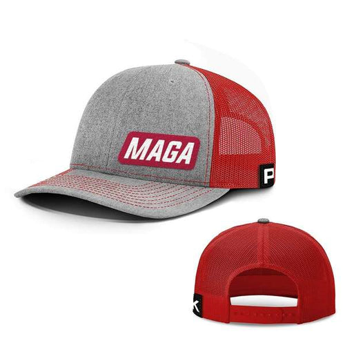 Printed Kicks Snapback Hat Heather And Red / Snapback Hat / OSFA MAGA Lower Left Back Mesh Hat (10 Variants)