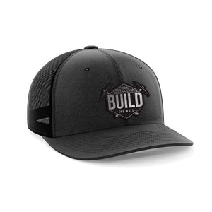 Greater Half Snapback Hat Hthblk/Black / OSFA Build The Wall Black Leather Patch Hat (7 Variants)