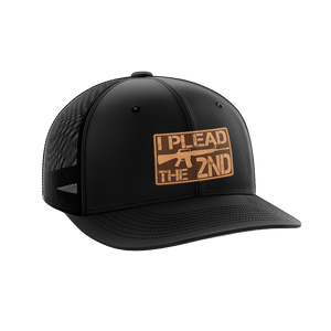 Print Brains Snapback Hat I Plead The 2nd Leather Patch Hat / Black/Black / One Size I Plead The 2nd Leather Patch Hat (6 Variants)