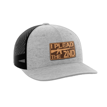 Load image into Gallery viewer, Print Brains Snapback Hat I Plead The 2nd Leather Patch Hat / Heather Gray/Black / One Size I Plead The 2nd Leather Patch Hat (6 Variants)