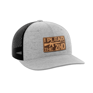 Print Brains Snapback Hat I Plead The 2nd Leather Patch Hat / Heather Gray/Black / One Size I Plead The 2nd Leather Patch Hat (6 Variants)