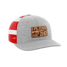 Load image into Gallery viewer, Print Brains Snapback Hat I Plead The 2nd Leather Patch Hat / Heather Gray/Flag / One Size I Plead The 2nd Leather Patch Hat (6 Variants)