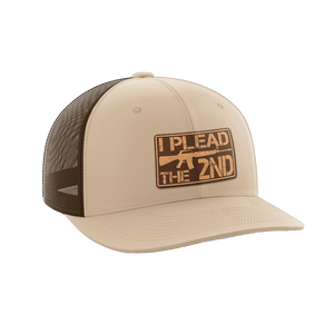 Print Brains Snapback Hat I Plead The 2nd Leather Patch Hat / Khaki/Coffee / One Size I Plead The 2nd Leather Patch Hat (6 Variants)