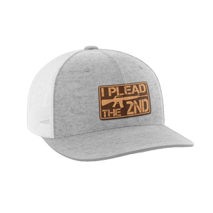 Print Brains Snapback Hat I Plead The 2nd Leather Patch Hat / White/Deep Heather / One Size I Plead The 2nd Leather Patch Hat (6 Variants)