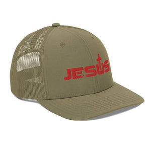American Patriots Apparel Snapback Hat Jesus King of the Jews Cross Red Text Snapback Hat (5 Variants)