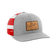Load image into Gallery viewer, Print Brains Snapback Hat Join or Die Leather Patch Hat / Heather Gray/Flag / One Size Join or Die Leather Patch Hat (12 Variants)