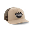 Load image into Gallery viewer, Greater Half Snapback Hat Khaki/Coffee / OSFA Build The Wall Black Leather Patch Hat (7 Variants)