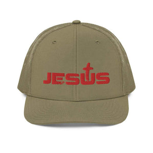 American Patriots Apparel Snapback Hat Loden Jesus King of the Jews Cross Red Text Snapback Hat (5 Variants)