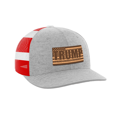 Print Brains Snapback Hat Make Liberals Cry Again Leather Patch Hat / Heather Gray/Flag / One Size Make Liberals Cry Again Leather Patch Hat (12 Variants)
