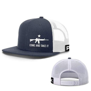 Printed Kicks Snapback Hat Navy And White / Snapback Flatbill Hat / OSFA Come and Take It Lower Left Hats (13 Variants)