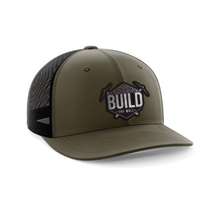 Greater Half Snapback Hat OD Green/Black / OSFA Build The Wall Black Leather Patch Hat (7 Variants)