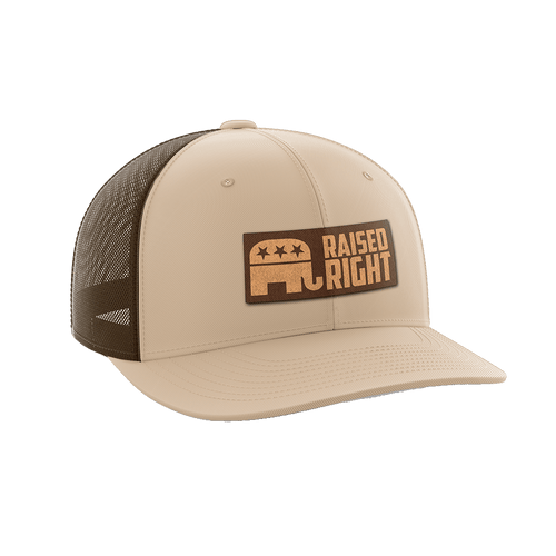 Print Brains Snapback Hat Raised Right Leather Patch Hat / Khaki/Coffee / One Size Raised Right Leather Patch Hat (6 Variants)