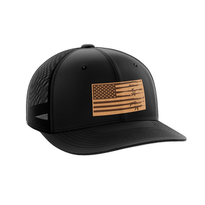 Print Brains Snapback Hat Rifle Flag Leather Patch Hat / Black/Black / One Size Rifle Flag Leather Patch Hat (12 Variants)