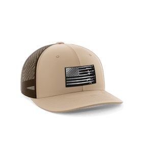 Print Brains Snapback Hat Rifle Flag Leather Patch Hat / Brown / One Size Rifle Flag Leather Patch Hat (12 Variants)