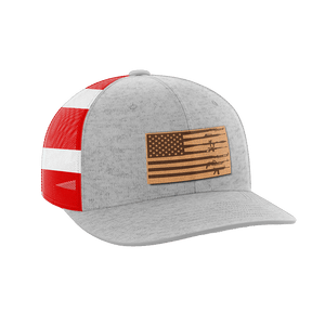 Print Brains Snapback Hat Rifle Flag Leather Patch Hat / Heather Gray/Flag / One Size Rifle Flag Leather Patch Hat (12 Variants)