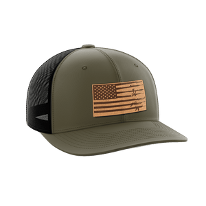 Print Brains Snapback Hat Rifle Flag Leather Patch Hat / OD Green/Black / One Size Rifle Flag Leather Patch Hat (12 Variants)