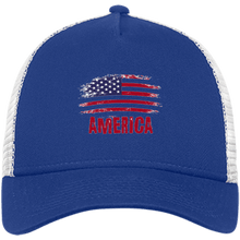 Load image into Gallery viewer, CustomCat Snapback Hat Royal/White / One Size American Flag NE205 Snapback Trucker Cap (6 Variants)