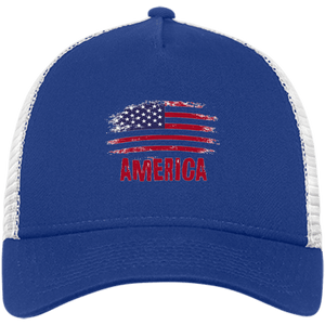CustomCat Snapback Hat Royal/White / One Size American Flag NE205 Snapback Trucker Cap (6 Variants)