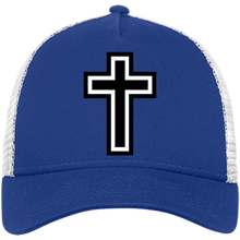 Load image into Gallery viewer, CustomCat Snapback Hat Royal/White / One Size The Cross NE205 Snapback Trucker Cap (6 Variants)