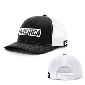 Printed Kicks Snapback Hat Snapback Hat / Black And White / OSFA Merica White Leather Patch Snapback Hat (15 Variants)
